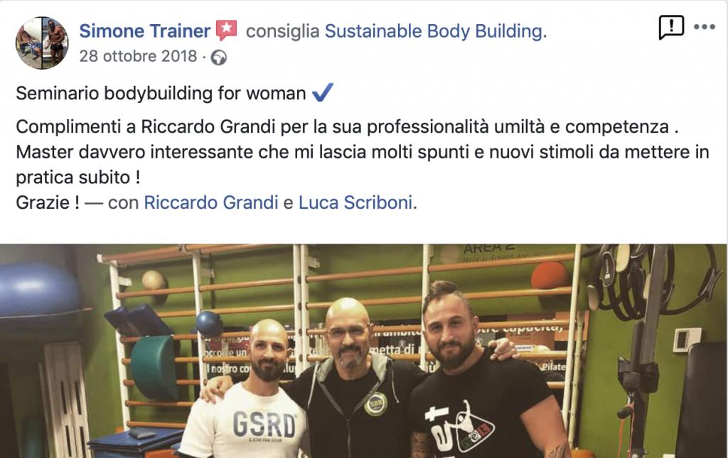 Testimonianza corso bodybuilding